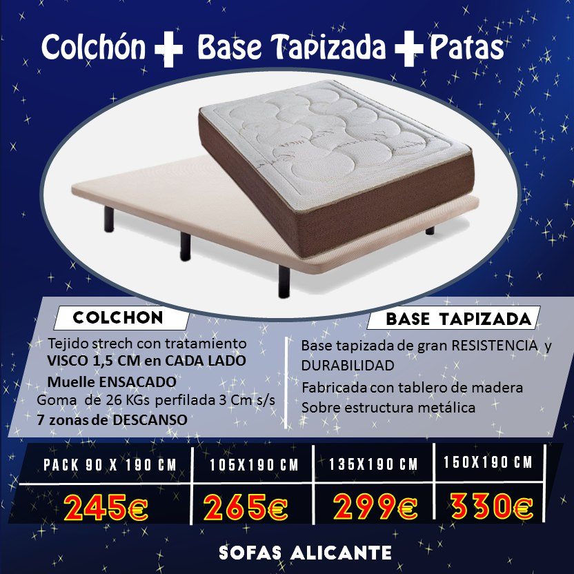 Promoción Colchon + Canape + Patas Sofás Alicante